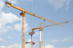Urban industrial landscape with three tower cranes Stock Photography