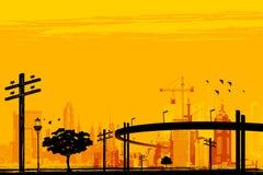 Urban Infrastructure. Illustration of skyscraper and over bridge in urban infrastructure Stock Photo