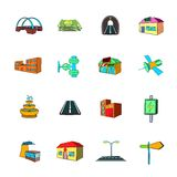 Urban infrastructure icons set cartoon Stock Photography