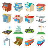 Urban infrastructure icons set, cartoon style Stock Images