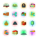 Urban infrastructure icons set, pop-art style. Urban infrastructure icons set in pop-art style on a white background Stock Image