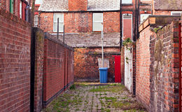 Urban inner city alley. Looking down Urban inner city alley royalty free stock photos