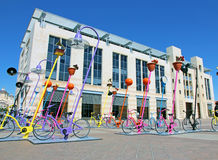 Urban Installation. Full gas in neutral is an urban installation of colorful  bicycles located in front of city hall in  Safra Square Jerusalem, Israel Royalty Free Stock Image