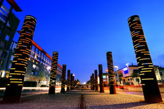 Brescia, Italy - April 02, 2016: Urban installations in the city suburb at blue hour. Urban installations in the city suburb at blue hour Royalty Free Stock Images