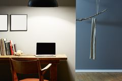 Modern urban office. Urban interior design at night office and creative wardrobe Stock Photos