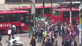 Urban Intersection, Traffic, Pedestrians. Stock video of an intersection stock video footage