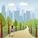 Urban jogging. Illustration of a girl who is running in the park of the city Stock Images