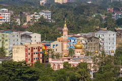 Urban Jungle: A Cityscape Of Yangon Royalty Free Stock Photography