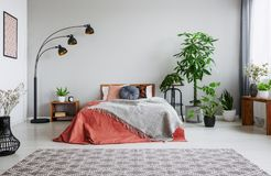 Urban jungle in bedroom with double bed, lamp and carpet stock photo