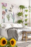 Urban jungle bedroom interior with sunflowers in the foreground and many green plants beside a bed dressed in white bedding. Tapes royalty free stock photography