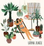 Urban Jungle. Vector illustration with trendy home decor. Houseplants, tropical leaves. Design elements royalty free illustration