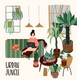 Urban Jungle. Vector illustration with trendy home decor. Houseplants, tropical leaves. Design elements stock illustration
