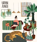 Urban Jungle. Vector illustration with trendy home decor. Houseplants, tropical leaves, leopard vector illustration