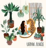 Urban Jungle. Vector illustration with trendy home decor. Houseplants, tropical leaves, leopard stock illustration
