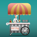 Urban kiosk for sale hotdogs. Street food vending cart with hot dogs vector illustration Stock Photos