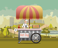 Urban kiosk for sale hotdogs. Street food vending cart with hot dogs vector illustration royalty free illustration