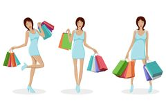 Urban Lady with Shopping Bag Royalty Free Stock Photography