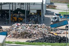 Urban landfill built under the program Environment with a grant from the European Union. Waste treatment plant depot. Stock Images