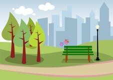 Urban landscape City park. Illustration of a city park Royalty Free Illustration