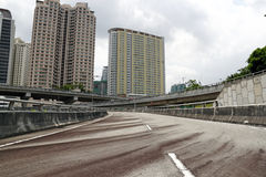Urban landscape. An image of an elevated highway with the backdrop of an urban landscape stock image