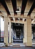 Urban landscape. View from under an overpass in a citiy Royalty Free Stock Photo