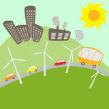 Urban landscape. With windmills and solar battery Royalty Free Stock Images