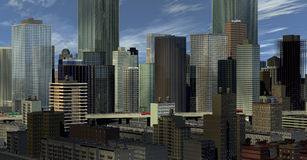 Urban Landscape. City Landscape from South East with long lens perspective Royalty Free Stock Photo