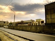 Urban Landscape. The old factory in the city of Kharkiv. The ruins of the past soviet allmighty Royalty Free Stock Image