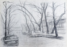 Urban landscape. Drawings of urban landscape.  Academical art. I am the author of this drawing Stock Images