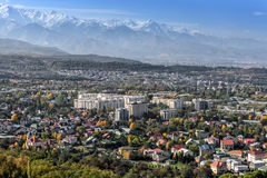 Urban landscape in Almaty. Panoramic view from the top Royalty Free Stock Photo