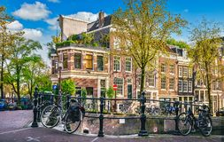 Urban landscape in Amsterdam Netherlands panorama street Royalty Free Stock Photo