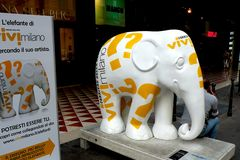 Urban landscape. Artistic elephant in center of Milan (Milano).