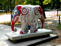 Urban landscape. Artistic elephant in center of Milan (Milano) Royalty Free Stock Photo