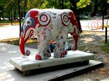 Urban landscape. Artistic elephant in center of Milan (Milano)