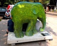 Urban landscape. Artistic elephant in center of Milan (Milano). Milan is home to many cultural institutions, museums and art galleries, that account for about a stock photography