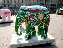 Urban landscape. Artistic elephant in center of Milan (Milano). Milan is home to many cultural institutions, museums and art galleries, that account for about a stock images