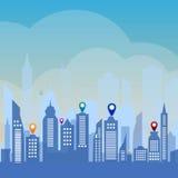 Urban landscape background. Vector illustration of city skyline Stock Image