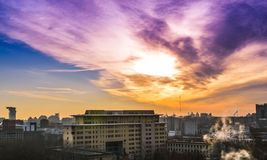 Urban landscape in Beijing. When the sun rises, clouds colorful sky, this photo was taken in December 1, 2013 Royalty Free Stock Photos
