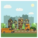 Urban landscape, cars go on the road. Urban landscape. Cars go on the road. Flat design. Vector illustration Royalty Free Illustration