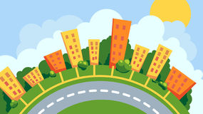 Urban landscape in a circle. Cartoon cityscape positioned in a circle Royalty Free Stock Images