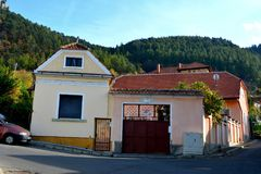 Characteristic street. Typical urban landscape of the city Brasov, a town situated in Transylvania, Romania Stock Photo
