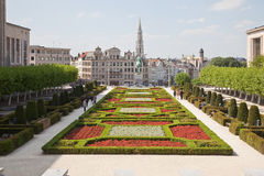 Brussels, view of the lower city from Mountain of Arts Stock Image