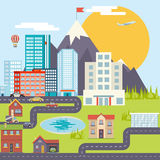 Urban Landscape City Real Estate Mountain Forest Stock Images