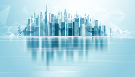 Urban Landscape City. With reflection and low poly background. Vector illustration Stock Photos
