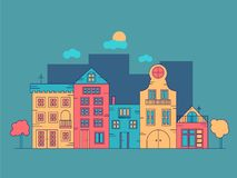 Urban landscape of colorful buildings stock illustration