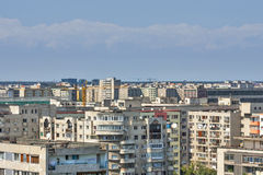 Urban landscape with communist buildings. Communist architecture apartment buildings in Bucharest, Romania. Aerial view Royalty Free Stock Photos