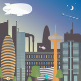 Urban landscape with a dirigible. The city night with the moon and stars. Skyscrapers and TV tower with fountain. Royalty Free Stock Photos