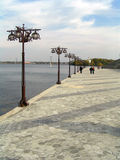 Urban landscape. Dnepropetrovsk. City Quay and the views of the monastery island Royalty Free Stock Photography