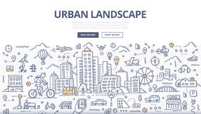 Urban Landscape Doodle Banner. Doodle  illustration of urban landscape. Cityscape with various elements of urban lifestyle for web banners, hero images, printed Stock Image