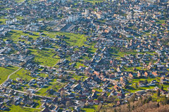 Aerial view urban landscape at spring Royalty Free Stock Image